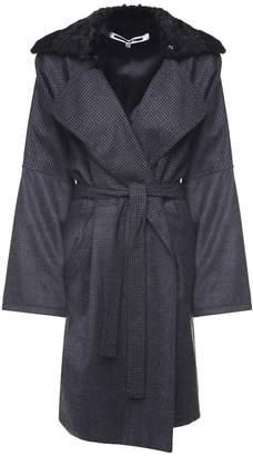 McQ Faux-fur And Pied De Poule-check Wool Coat