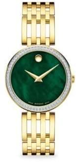 Movado Esperanza Goldplated, Diamond& Mother-Of-Pearl Bracelet Watch