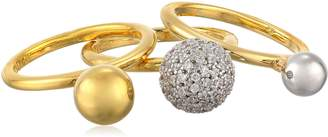 Noir Gold Clear Three Sphere Set Ring, Size 6