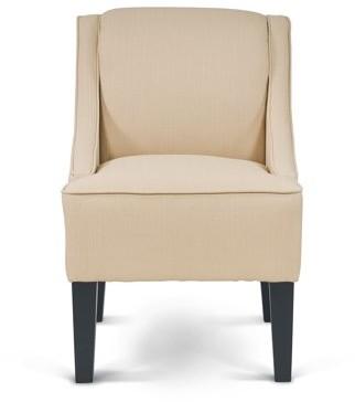 Mainstays Slight Arm Swoop Chair with Wood Legs, Ricepaper