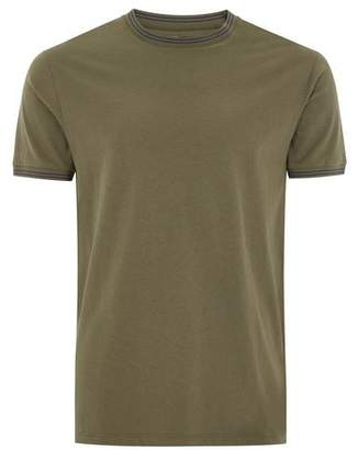 Topman Mens Khaki Tipped Muscle Ringer T-Shirt