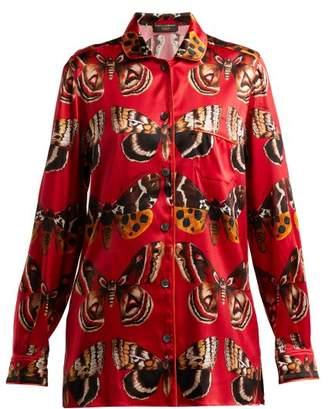 Dolce & Gabbana Butterfly-print satin pyjama shirt