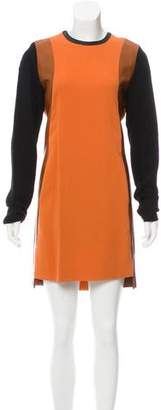 Reed Krakoff Leather-Trimmed Midi Dress
