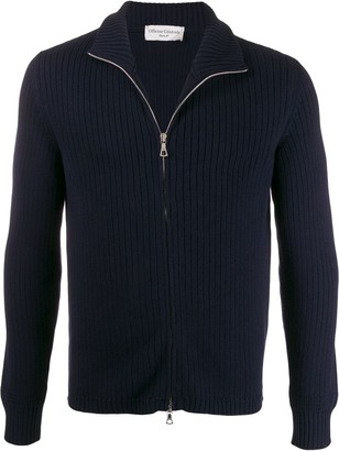 Officine Generale ribbed roll neck zipped cardigan