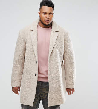 Asos Design PLUS Relaxed Borg Overcoat in Ecru