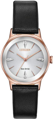 Citizen Eco-Drive Women Axiom Black Leather Strap Watch 28mm