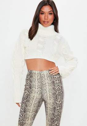 Missguided Cream Super Cropped Cable Sweater