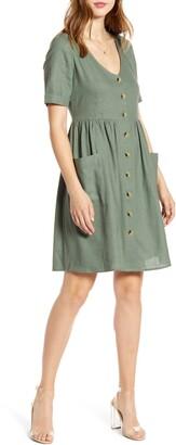 Vero Moda Front Button Woven Fit & Flare Shirtdress