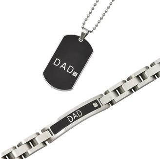 """Steel By Design Men's Black """"DAD"""" Bracelet &Necklace Set"""