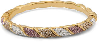 FINE JEWELRY Womens Multi Color Crystal Gold Over Silver Bangle Bracelet