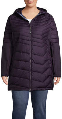 Columbia Oyanta Trail Long Hybrid Quilted Hooded Water Resistant Midweight Puffer Jacket-Plus
