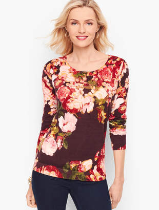 Talbots Gathered Shoulder Merino Sweater - Floral