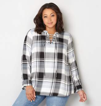 Avenue Plaid Lace-Up Pullover
