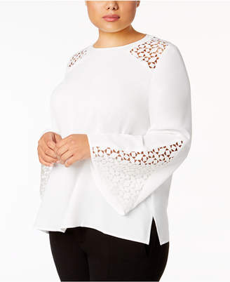 Kasper Plus Size Lace-Inset Top