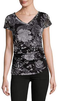 INC International Concepts Double-Layer Ruched Mesh Top