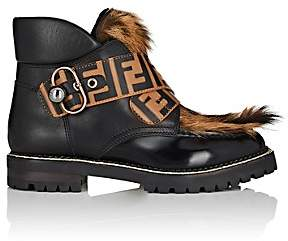 Fendi Women's Fur-Trimmed Leather Ankle Boots - Black