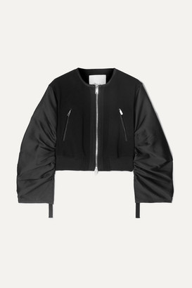 3.1 Phillip Lim Shirred Cropped Crepe And Taffeta Bomber Jacket - Black