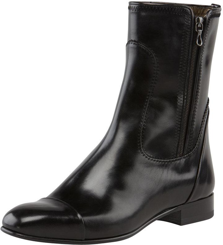 Lanvin Cap-Toe Flat Leather Boot