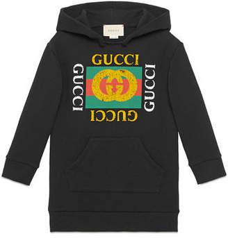 Gucci Hooded Sweatshirt Dress w/ Vintage Logo, Size 4-10