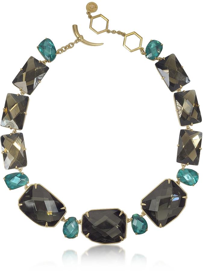 Tory BurchTory Burch Goldtone Brass w/ Denim Blue Crystals Necklace
