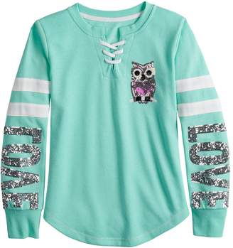 Miss Chievous Girls 7-16 & Plus Size Lace Up Sequined Graphic Sweatshirt