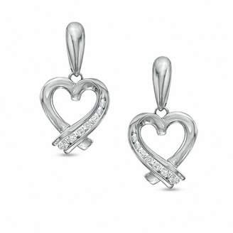Zales 1/7 CT. T.W. Diamond Ribbon Heart Drop Earrings in 10K White Gold