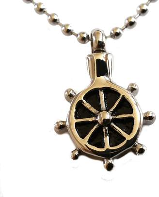 "Ralph Lauren Annabelle Studio ""Ship Wheel Sailor"" Cremation Urn Necklace Stainless Pendant Jewelry Ash Holder"