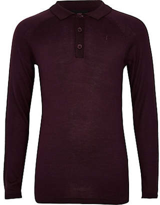 River Island Boys dark red long sleeve polo shirt