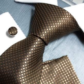 PH1127 Black Checkered Sale For Lawyers Woven Silk Necktie Cufflinks Handkerchiefs Present Box Set Black Tie Knots Tie By Epoint