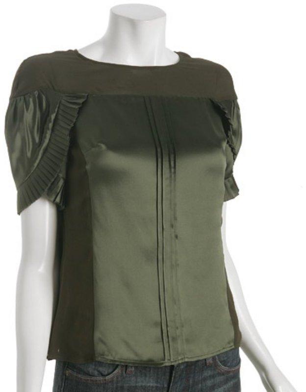Development olive satin petal sleeve blouse