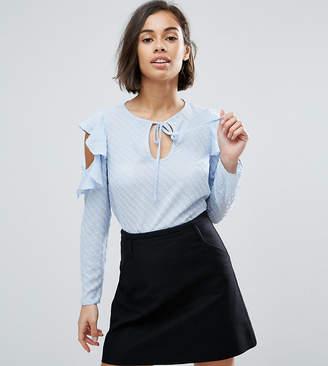 Miss Selfridge Petite Cold Shoulder Dobby Shirt
