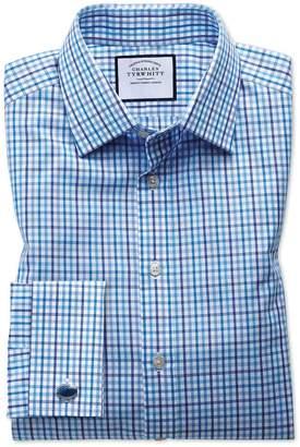 Charles Tyrwhitt Slim Fit Poplin Multi Blue Check Cotton Dress Shirt Single Cuff Size 15/34