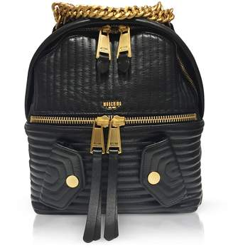 Moschino Black Quilted Leather Backpack