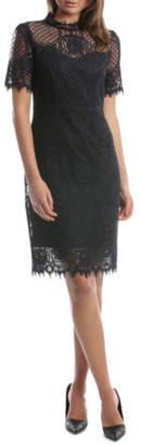 Jayson Brunsdon NEW Black Label Circle Lace Navy Dress