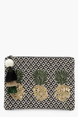 boohoo Pineapple Embroidery Clutch