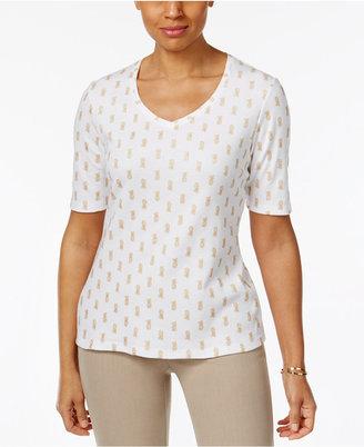 Karen Scott Printed V-Neck T-Shirt, Only at Macy's $9.98 thestylecure.com