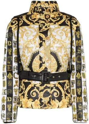 Versace heritage print hooded puffer jacket