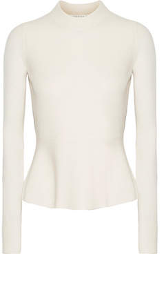 Veronica Beard Raleigh Pointelle-trimmed Cashmere Peplum Sweater - Ecru