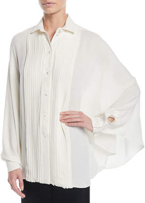 Valentino Long-Sleeve Pleated Button-Front Silk Georgette Blouse