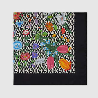 Gucci Silk scarf with Flora and G rhombus print