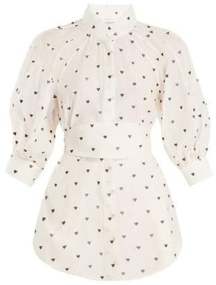 Zimmermann Painted Heart Embroidered Cotton Blend Shirt - Womens - Cream Multi