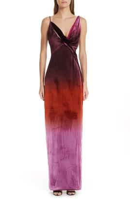 Cushnie et Ochs Ombre Velvet Column Dress