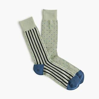 J.Crew Blue striped dot print socks