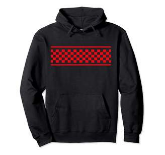 Checkered Surf Skateboard Shirt For Teens Red Checker Pattern Checkerboard Skater Surfer Style Teens Pullover Hoodie