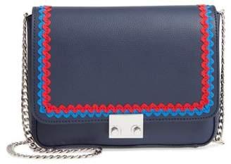 Loeffler Randall Lock Leather Flap Clutch/Shoulder Bag