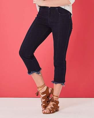 Fashion World Indigo Drew Rip Hem Straight Leg Jeans