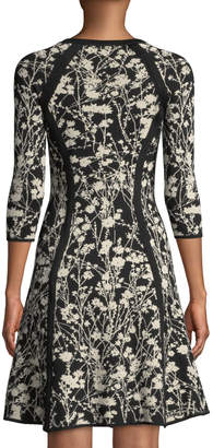 Neiman Marcus Floral-Jacquard Fit & Flare Sweater Dress