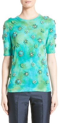 Women's Michael Kors Embellished Cashmere Tee $1,595 thestylecure.com
