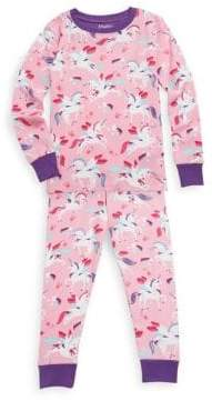Hatley Little Girl's& Girl's Two-Piece Winged Unicorns Cotton Pajama Set