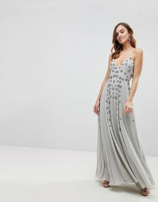 Asos Design Cami Strap Maxi Dress with Cluster Embellishment